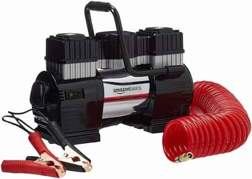 AmazonBasics Portable Air Compressor with Dual Battery Clamps and Carrying Case